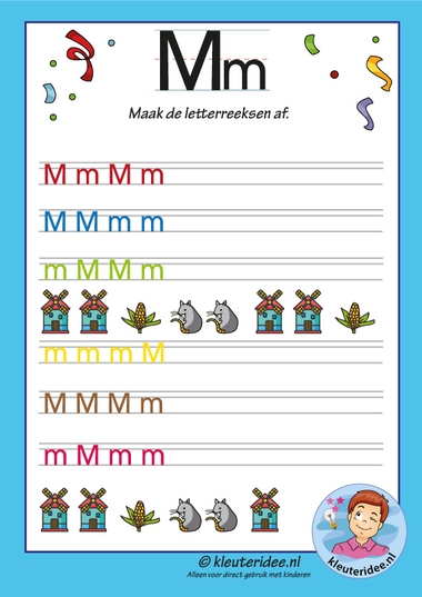 Pakket over de letter m blad 14, maak de letterreeksen af, kleuteridee, free printable