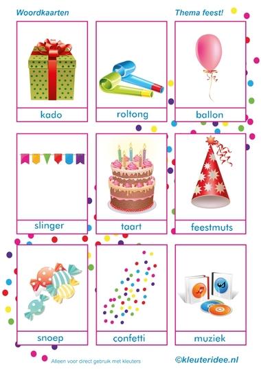 Woordkaart, thema feest voor kleuters, juf Petra van kleuteridee, free printable.