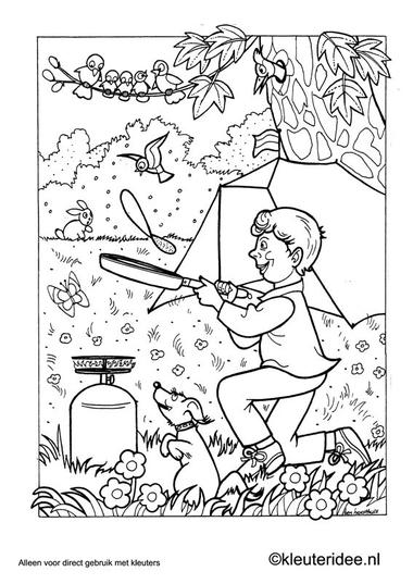 Kleurplaat thema camping 3, kamperen, kleuteridee.nl , preschool camping coloring.