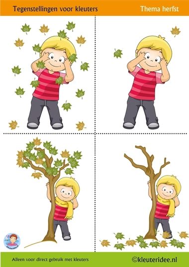 Tegenstellingen voor kleuters 1, thema herfst, kleuteridee, Preschool opposites 1, free printable.