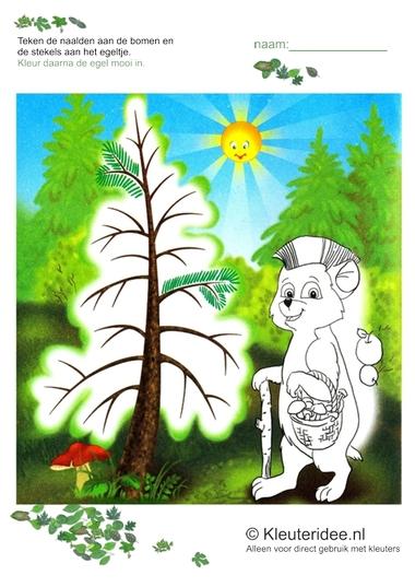 Schrijfpatroon bos voor kleuters, kleuteridee.nl, free printable.