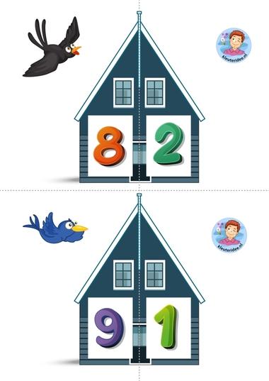 Vrienden van 10 5 kleuteridee.nl, free printable, Twee halve huizen aan elkaar, is precies 10 bij elkaar