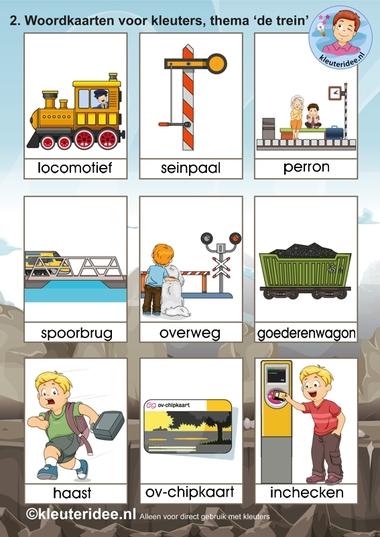 Woordkaarten voor kleuters 2, thema 'de trein', kleuteridee.nl, free printable railroad words.