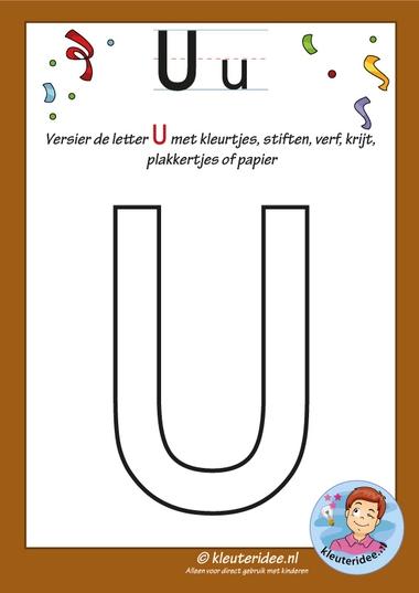 Pakket over de letter u blad 6, versier de hoofdletter U, kleuteridee, free printable