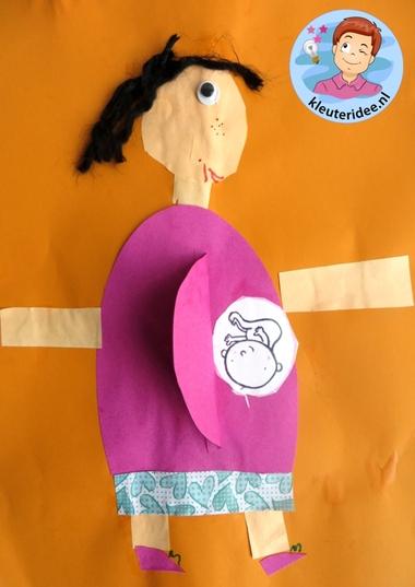 Zwanger, moeder knutselen met baby, Kindergarten craft, pregnant mother 2, kleuteridee
