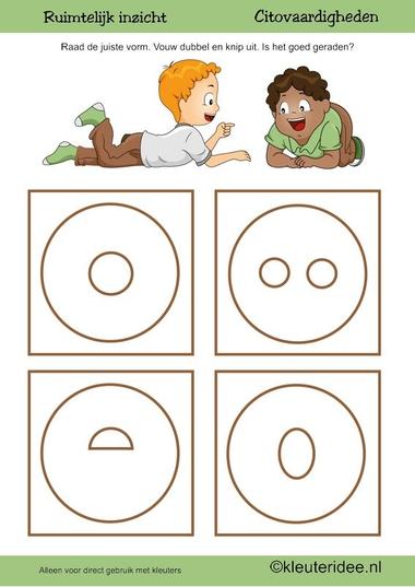 Citovaardigheden voor kleuters, kleuteridee.nl ,ruimtelijk inzicht cirkel , rekenen voor kleuters.