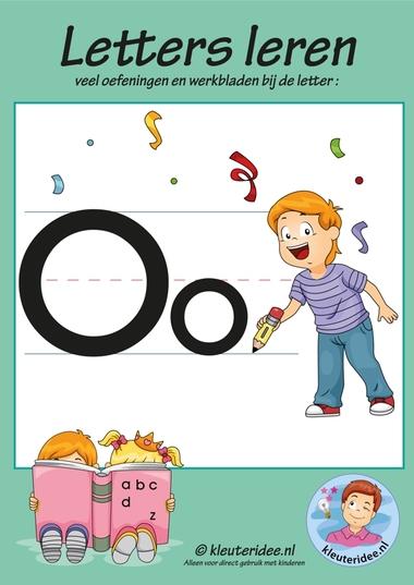 Pakket over de letter 0 blad 1, voorkant, letters aanbieden aan kleuters, kleuteridee.nl, free printable.