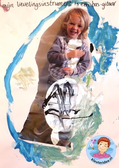 Schilder je lievelingsinstrument 4, thema muziek, Kindergarten music craft, music theme, kleuteridee.nl