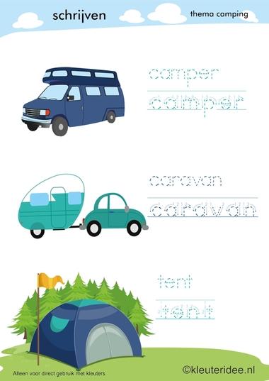 Schrijven voor kleuters, thema camping, kleuteridee.nl, preschool camping theme.
