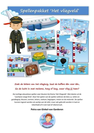Spellenpakket het vliegveld voor kleuters, kleuteridee, Kindergarten airport games, voorkant