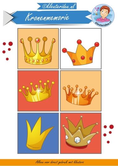 Kronenmemorie bij thema koningsdag 1, kleuteridee.nl, Crownmemory free printable.