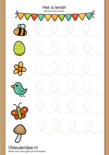 Het is lente, schrijfpatroon voor kleuters, kleuteridee.nl , thema lente, free printable.