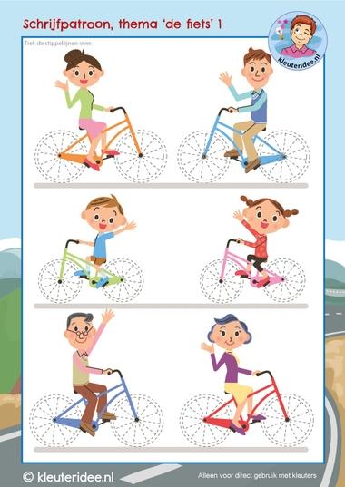 schrijfpatroon, thema de fiets, kleuters, kleuteridee, writing pattern kindergarten bike theme, free printable kl