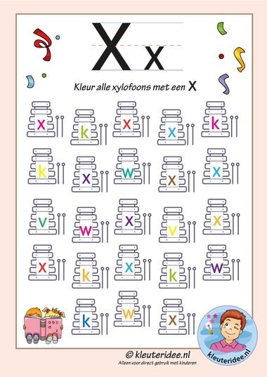 Pakket over de letter x, blad 6, kleur alle xylofoons met een x, letters aanbieden aan kleuters, kleuteridee, free printable
