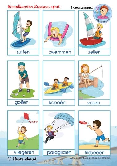 Woordkaarten Zeeuwse sport voor kleuters, kleuteridee.nl, thema Zeeland, free printable..