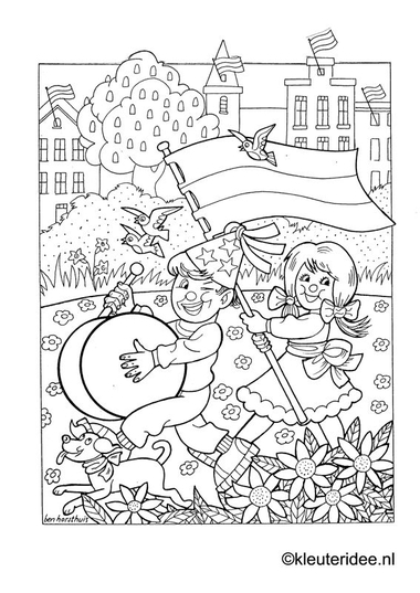 Kleurplaat koningsdag voor kleuters 2, kleuteridee.nl , The kings day coloring.