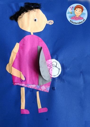 Zwanger, moeder knutselen met baby, Kindergarten craft, pregnant mother, 5 kleuteridee