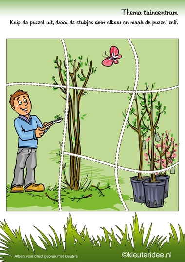 Puzzel tuin , thema tuincentrum, kleuteridee , Preschool puzzle, garden theme, free printable.