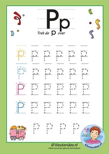 Pakket over de letter p blad 7, trek de letter p over, letters aanbieden aan kleuters, kleuteridee, free printable