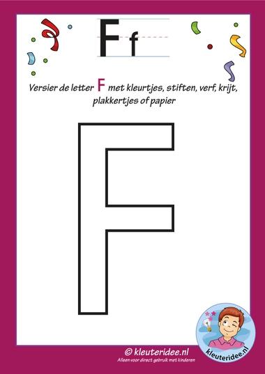 Pakket over de letter f blad 5, versier de letter hoofdletter F, letters aanbieden aan kleuters, kleuteridee, free printable.