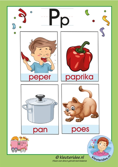 Pakket over de letter p blad 3, woordkaarten met een p, kleuteridee, free printable