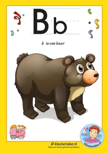 Pakket over de letter b blad 2, letterkaart, letters aanbieden aan kleuters, kleuteridee.nl, free printable.