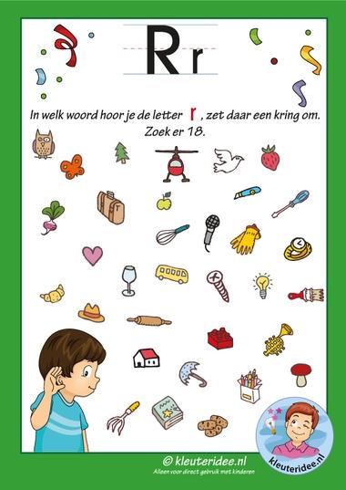 Pakket over de letter r blad 8, in welk woord hoor je eenr, letters aanbieden aan kleuters, kleuteridee, free printable