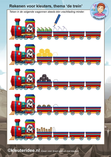rekenen voor kleuters 2, steeds 1 minder, thema de trein, kleuteridee, free printable.