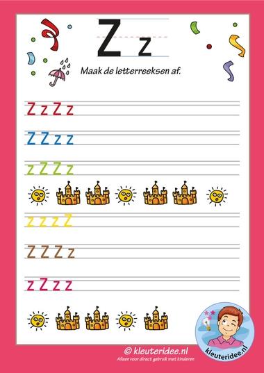 Pakket over de letter z blad 14, maak de letterreeksen af z, kleuteridee, free printable