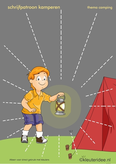 Schrijfpatroon kamperen voor kleuters 2, thema camping, kleuteridee.nl, preschool writing pattern, camping theme, free printable.
