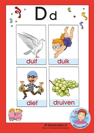 Pakket over de letter d blad 3a, woordkaarten met een d, kleuteridee.nl, free printable.