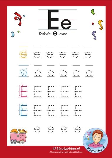 Pakket over de letter e blad 7, trek de letter e over, letters aanbieden aan kleuters, kleuteridee, free printable.