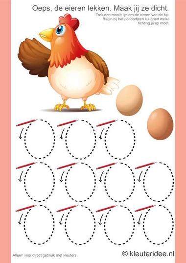 Schrijfpatroon de eieren van de kip, kleuteridee.nl, thema lente, free printable.