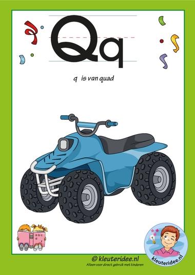 Pakket over de letter q blad 2, letterkaart met een q, kleuteridee, free printable