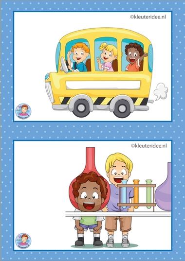 12 Schoolreis en techniek. 32 dagritmekaarten voor kleuters, juf Petra kleuteridee / Preschool schedule cards