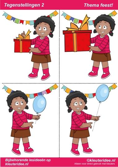 Tegenstellingen deel 2, thema feest voor kleuters, juf Petra van kleuteridee, bij behorende les op de website, preschool opposites, free printable.