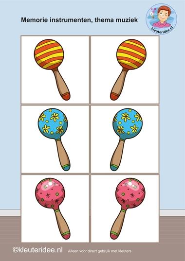 Muziekinstrumenten memorie 4, thema muziek, kleuteridee.nl, Kindergarten music memory game, free printable.