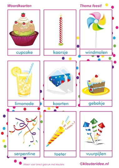Woordkaart 2, thema feest voor kleuters, juf Petra van kleuteridee, free printable.
