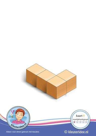 Bouwkaart 9 moeilijkheidsgraad 1 voor kleuters, kleuteridee, Preschool card building blocks with toddlers 9, difficulty 1.