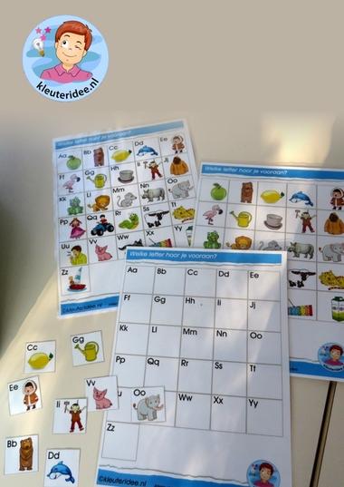 Spelkaarten met letterkaartjes voor de taalhoek 2, letters herkennen, eerste letter, kleuteridee.nl, free printable.