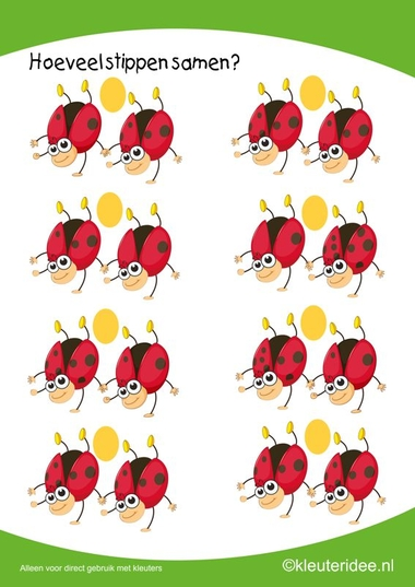 Hoeveel stippen samen, kleuteridee.nl , rekenen met kleuters, how many dots together, free printable.