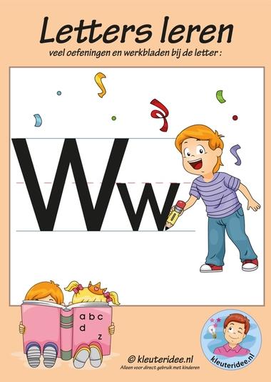 Pakket over de letter w blad 1, voorkant, letters aanbieden aan kleuters, kleuteridee.nl, free printable.