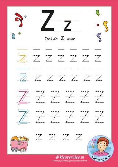 Pakket over de letter z blad 7, trek de letter z over, letters aanbieden aan kleuters, kleuteridee, free printable