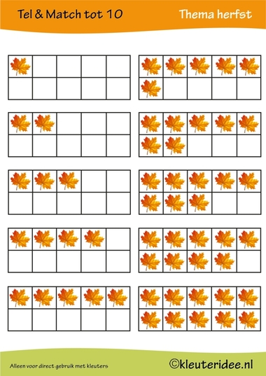 Tel & match tot 10, thema herfst, juf Petra van kleuteridee, count & match 1-10, Preschool autumn theme, free printable 1.