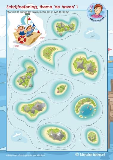 Schrijfpatroon, thema de haven, kleuteridee, kindergarten writing pattern harbour ship, free printable