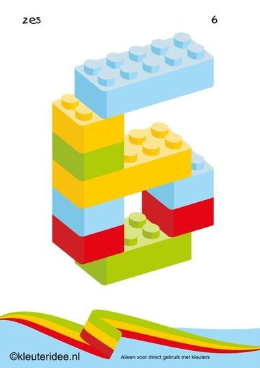 Cijfers van lego 1 -10 voor kleuters, nummer 6 , kleuteridee.nl , lego numbers for preschool 1-10 , free printable.