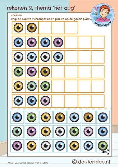rekenen thema 'het oog' reeksen voor kleuters,kleuteridee, Kindergarten eye theme math