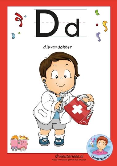 Pakket over de letter d blad 2, letterkaart, letters aanbieden aan kleuters,free printable.