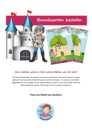 Voorkant pakket bouwkaarten kastelen, kleuteridee.nl