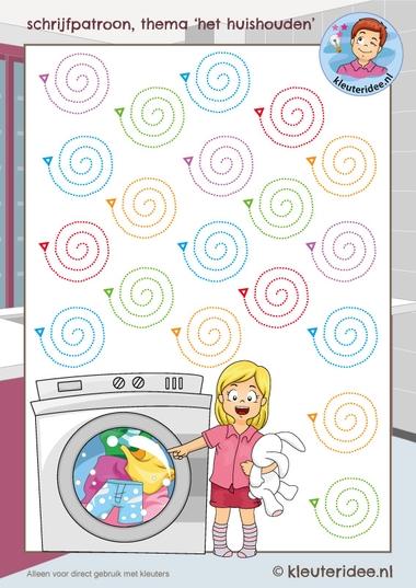 schrijfpatroon het huishouden 2, writing pattern wash, kleuteridee